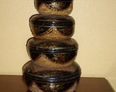 Nest of Five Round CHINESE LACQUER Baskets/Vintage/Hand Painted/OOAK