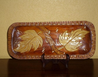 Hand Carved TEAK SMALL Tray/Rectangle/Leaves/OOAK