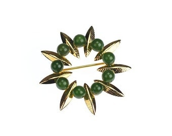 Gold Filled GF Vintage Brooch Pin with Leaves and Jade Green Accents