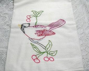 Vintage Cardinal on Branch Tea Towel Kitchen Towel Embroidered