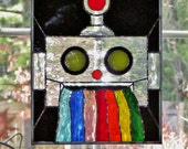 Robot Puking Rainbow Stained Glass Waterglass