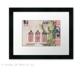 Venice Italy photography wanderlust framed photo large wall art home decor architecture window brown pink coral green office decor