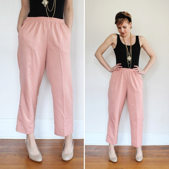 1990s Blush Pink High Waist Jogger Ankle Cropped Pants Size