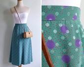 Vintage 80's Disco Dots Green & Purple Polka Dot Skirt XS or S