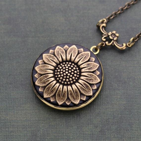 Sunflower Locket Necklace Sunflower Locket Sunflower