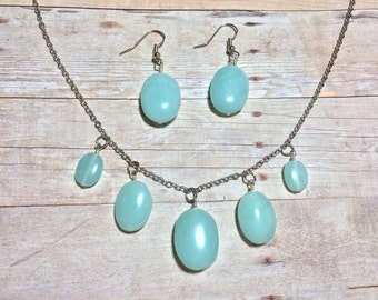 Mint Turquoise Bead Chunky Necklace Earring Set Stocking Stuffer Christmas Gifts Friendship Gift Seafoam Jewelry