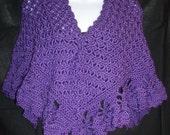 Purple Floral Wrap Hand Crocheted Wrap Shawl