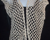 Sleeveless Shrug Hand Crocheted in Ivory with Gold Metallic Highlights
