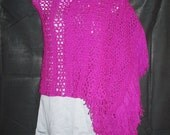 Magenta Crochet Wrap with Fringe - Prayer Shawl - Bridal Shawl