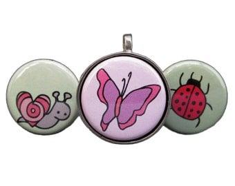 Butterfly Necklace - Ladybug Necklace - Snail Necklace Set - Insect Pendants