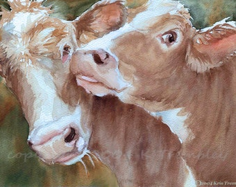 Cow Print art watercolor painting brown cows  kissed by a cow