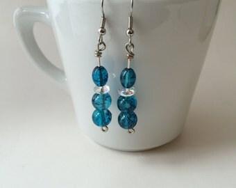 Speckle Blue Dangle Earrings