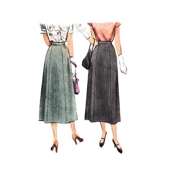 vintage 1940s high waist midi skirt pattern mccall by