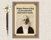 Funny Father's Day Card, Beard Card, Paper Handmade Greeting Card, Blank Card, Card For Dad, 5 x 7