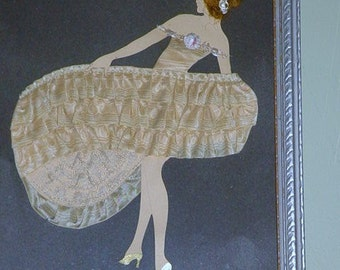 Vintage Flapper Ribbon Art Girl Bridesmaid Gift Art Deck Paper Doll