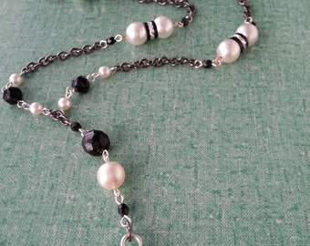 """I-D Lanyard, Name-tag Holder,  Faux Pearls.   37"""""""