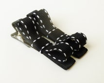 small Black hair bows--small black and white saddle stitch baby bow clips--accessories for girls