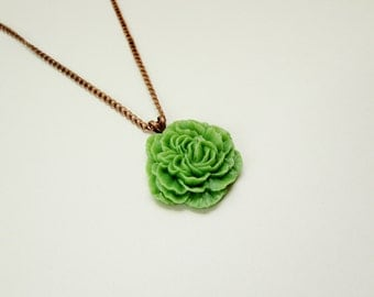Green Peony Flower Necklace
