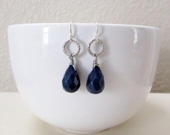 Wire Wrapped Midnight Blue Briolette Earrings