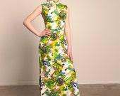 vintage Maxi Dress 1960s Hippie Boho festival mandarin Collar Keyhole Neckline  Psychedelic  size Medium or Small
