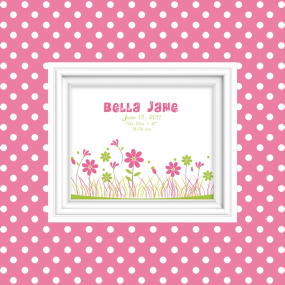 Birth Stat Wall Art Personalized Flower Garden Birth Announcement Nursery Decor Wall Art New Baby Gift Newborn Gift 8x10 Print Yellow Pink