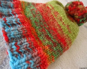MADE TO ORDER - Hand knitted hat, tassel hat, beanie, very warm winter hat, multicolor hat, knitted beanie, hat with tassel, perfect present