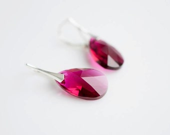 Swarovski crystal Bright hot pink Ruby dangle drop sterling silver hpoallergenic leverback earrings