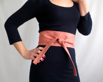 Blush pink obi belt , pink obi belt, vegan leather sash belt, blush belt, faux leather belt, suede belt