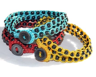 Magnetic, Hematite - blue, yellow, red, coral color options - Macrame Triple Wrap Bracelet, Double wrap Anklet, or Single strand Necklace