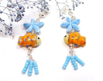 Sunny Ocean/Beach Fun Earrings with Orange Ceramic Fishies and Aqua Starfish