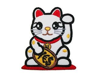 Lucky Cat Maneki-neko Iron On Patch Embroidery Sewing DIY Customise Denim Cotton