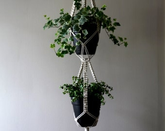 "Macrame Plant Hanger - 60"" Knotted Natural White Cotton Rope - 3 Strand - Double Indoor Hanging Planter - Boho Home Decor - MADE TO ORDER"