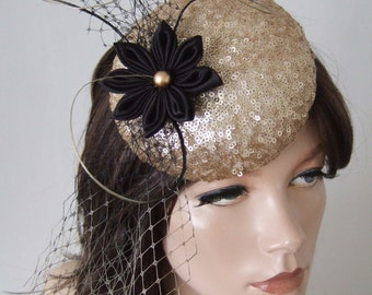 """Gold Black Sequin Kanzashi Flower Veil and Quills Button Headpiece Cocktail Hat """"Meredith"""" FG1011 Mother of the Bride Groom Winter Racing"""