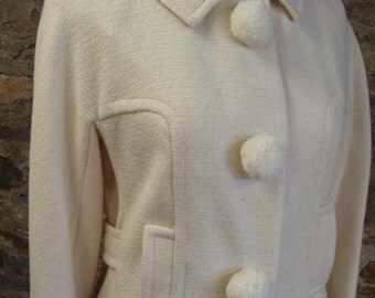 fun ARTHUR JAY 1960's pencil skirt SUIT pom poms ivory wool S