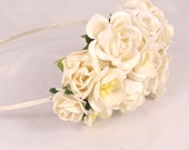 Floral fascinator with Ivory Roses Flower Vintage Wedding Party Bridal Accessory Bridesmaid statement