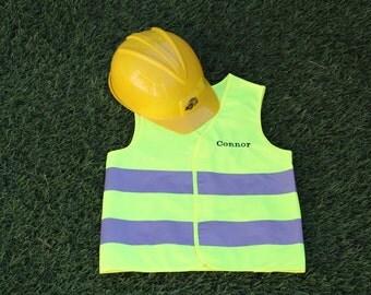 Personalized Children's Construction Vest and Hat Set