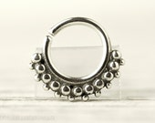 Septum Ring Piercing Nose Ring Body Jewelry Sterling Silver tribal septum ring Indian Style 16g 14g - SE008R SS