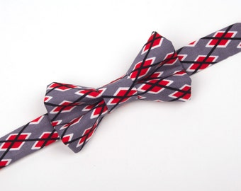 Red, Grey and White Agyle Bow Tie - Valentine's Day bow tie - boys argyle bow tie - grey and red bow tie - toddler bow tie - baby bow tie
