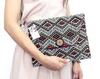 Handmade iPad Clutch With In-House Embroidered Fabric Thailand (BG5343.13)