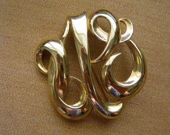 Monogram Brooch Signed Monet Vintage Gold Swirls Elegant Glam