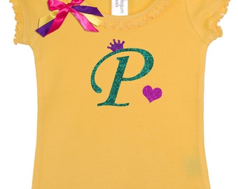 Girls Birthday Shirt, Personalized Initial P, Princess Crown Initial, Monogrammed P, Girls Birthday Shirt, Letter P Monogram, Name on Shirt
