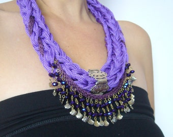 Fringed statement ethnic/purple macrame necklace folk