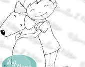 Best Friends Forever - digital stamp digistamp JPG PNG - boy dog love line art for crafting