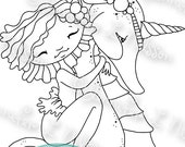 Drifting Dreamers - digital stamp digistamp JPG PNG - fantasy mermaid seahorse unicorn line art for crafting