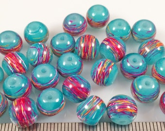 30 8mm Teal Glass Drawbench Beads