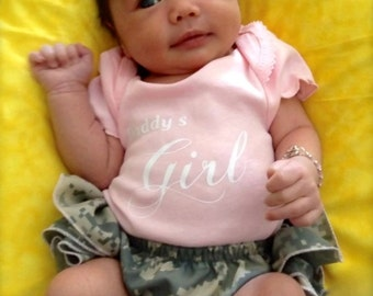 Parley Ray Daddy's Girl Pink Bodysuit & US Army ACU Digital Camouflage Ruffled Baby Bloomers
