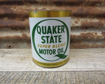Large Vintage 1960s Era Quaker State Motor Oil Green White Gold Oil City Pa Oil Can Metal Collectible Gas Station Mechanics Garage Display