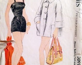 """Vintage 1954 McCall's Misses' Bathing Suit and Beach Coat Pattern 3091 Size 12 (30"""" Bust)"""