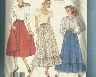 1980's McCalls 3170 Flared Country Western Skirts Size 12..14..16 UNCUT