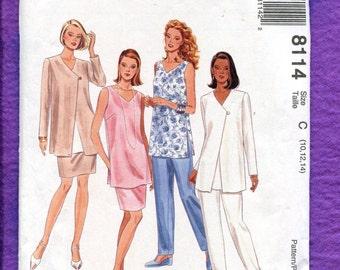 McCalls 8114 Stunning Tunics Jacket Skirt & Pants for Summer Wardrobe Size 10..12..14 UNCUT